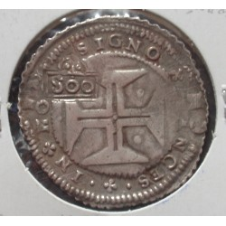 D. Pedro II - Cordão e cunho de orla nova - Carimbo S00 S/ Cruzado D. João IV - Prata