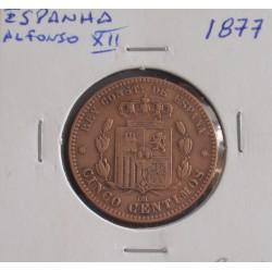 Espanha - Alfonso XII - 5 Centimos - 1877