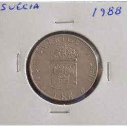 Suécia - 1 Krona - 1988