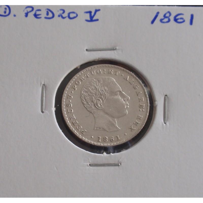 D. Pedro V - 100 Réis - 1861 - Prata
