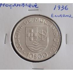 Moçambique - 10 Escudos - 1936 - Prata - Enverniz.