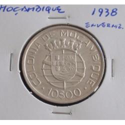 Moçambique - 10 Escudos - 1938 - Prata - Enverniz.