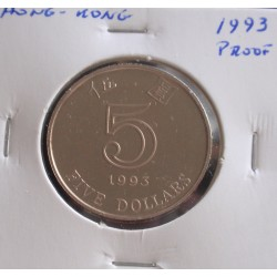 Hong - Kong - 5 Dollars - 1993 - Proof