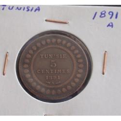 Tunisia - 5 Centimes - 1891 A