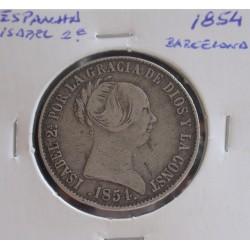 Espanha - Isabel 2ª - 10 Reales - 1854 ( Barcelona ) - Prata