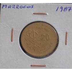 Marrocos - 20 Santimat - 1987