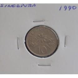 Singapura - 10 Cents - 1990