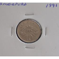 Singapura - 10 Cents - 1991