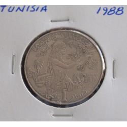 Tunisia - 1 Dinar - 1988