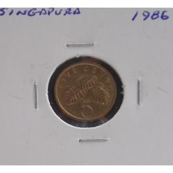 Singapura - 5 Cents - 1986