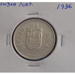 India - 1/2 Rupia - 1936 - Prata
