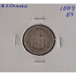 Espanha - Alfonso XIII - 50 Centimos - 1889-89 - Prata