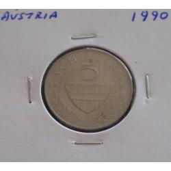 Aústria - 5 Schilling - 1990