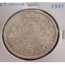 Letónia - 5 Lati - 1931 -...
