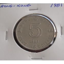 Hong - Kong - 5 Dollars - 1981