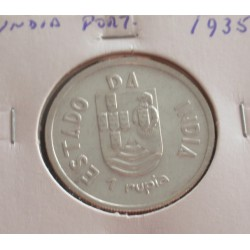 India - 1 Rupia - 1935 - Prata