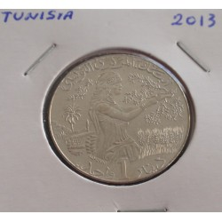 Tunisia - 1 Dinar - 2013