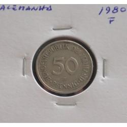 Alemanha - 50 Pfennig - 1980 F