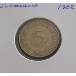 Jugoslávia - 5 Dinara - 1982