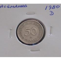 Alemanha - 50 Pfennig - 1980 D