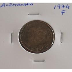 Alemanha - 10 Pfennig - 1974 F