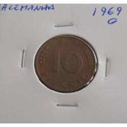 Alemanha - 10 Pfennig - 1969 G