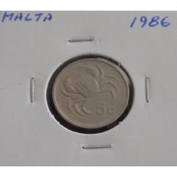 Malta - 5 Cents - 1986