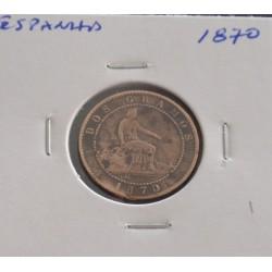 Espanha - 2 Centimos - 1870
