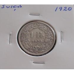 Suiça - 1 Franc - 1920 - Prata