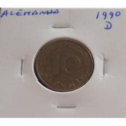 Alemanha - 10 Pfennig - 1990 D