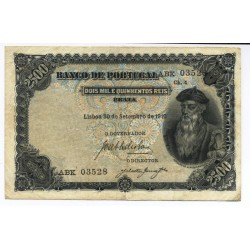Portugal - Nota - 2500 Réis - 39/9/ 1910 - ch.4 - Afonso de Albuquerque