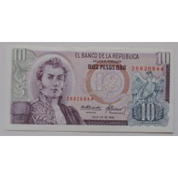 Colômbia - 10 Pesos Oro -...
