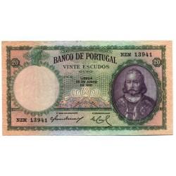 Portugal - Nota - 20 Escudos - 26/6/1951 -  Ch. 6 - D. António Luiz de Menezes