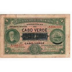Cabo Verde, PT, 5 Escudos, 1/1/1921, Chamiço