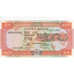 Macau, PT, 1000 Patacas, 20/12/1999, Dragão