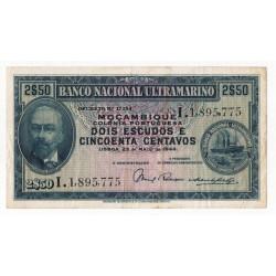 Moçambique, BNU, 2,5 Escudos, 23/5/1944, António Eanes